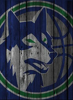 Baskets Photograph - Minnesota Timberwolves Wood Fence by Joe Hamilton