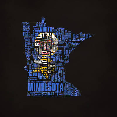 Art Of Hockey Digital Art - Minnesota Typographic Map by Brian Reaves