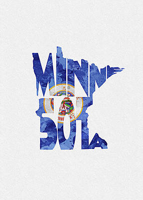 Digital Art - Minnesota Typographic Map Flag by Inspirowl Design