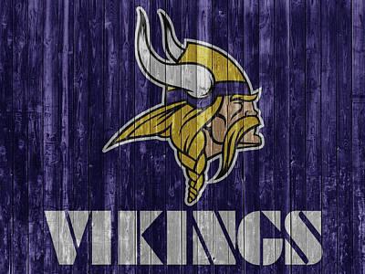 Mixed Media - Minnesota Vikings Barn Door by Dan Sproul