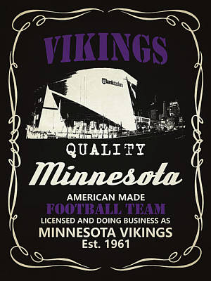 Minnesota Vikings Whiskey Art Print by Joe Hamilton