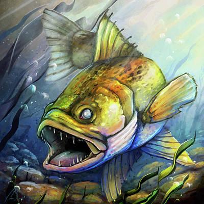 Digital Art - Minnesota Walleye Fish by Cass Womack