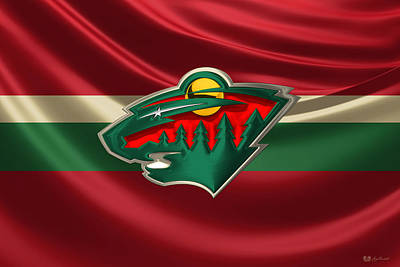 Minnesota Wild - 3 D Badge Over Silk Flagminnesota Wild - 3d Badge Over Silk Flag Original