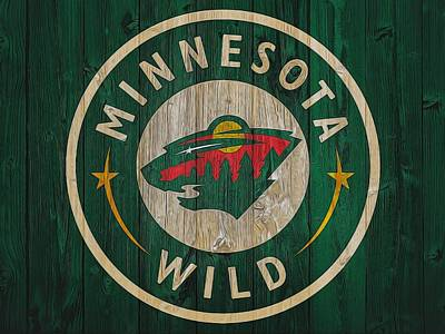 Athletes Mixed Media - Minnesota Wild Graphic Barn Door by Dan Sproul
