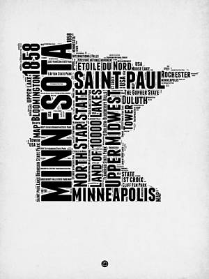 Minneapolis Digital Art - Minnesota Word Cloud Map 2 by Naxart Studio