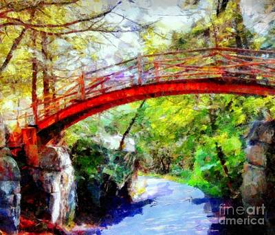 Digital Art - Minnewaska Wooden Bridge by Janine Riley