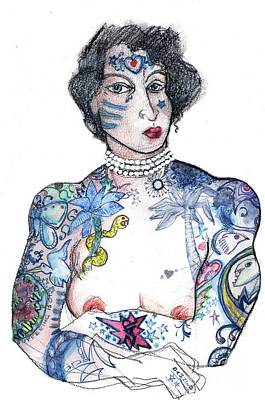 Tattoo Art Mixed Media - Minnie - An Homage To Maud Wagner, Tattoos  by Carolyn Weltman