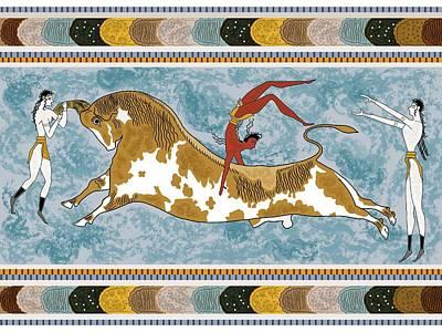 Crete Digital Art - Minoan Bull Leaping Illustration by Charis Estelle Olney