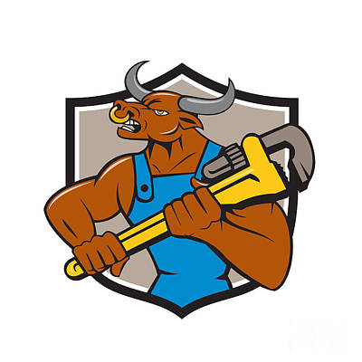Minotaur Digital Art - Minotaur Bull Plumber Wrench Crest Cartoon by Aloysius Patrimonio