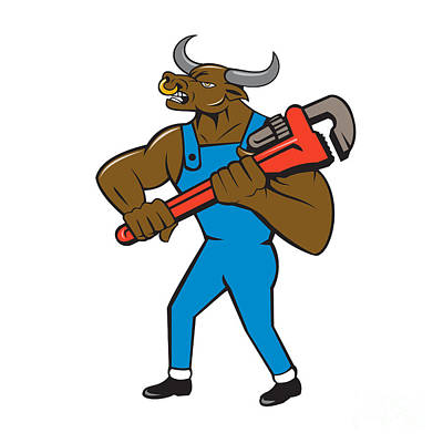 Minotaur Digital Art - Minotaur Bull Plumber Wrench Isolated Cartoon by Aloysius Patrimonio
