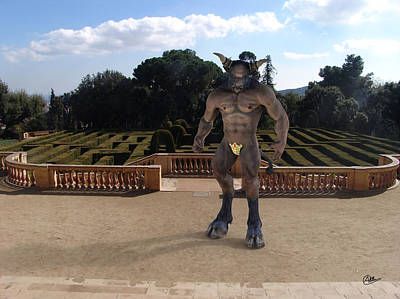 Minotaur Digital Art - Minotaur In The Labyrinth Park Barcelona. by Joaquin Abella