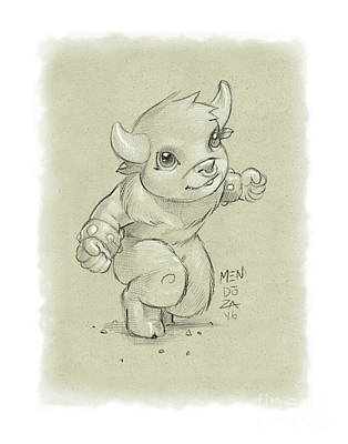 Minotaur Drawing - Minotaur by Christopher Mendoza