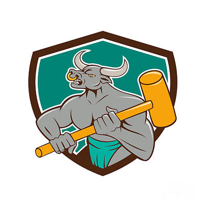 Minotaur Digital Art - Minotaur Wielding Sledgehammer Shield Cartoon by Aloysius Patrimonio