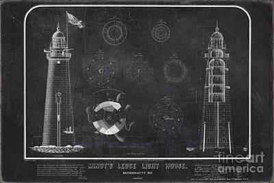 Drawing - Minot's Ledge Light House. Massachusetts Bay Near Cohasset  by Vintage