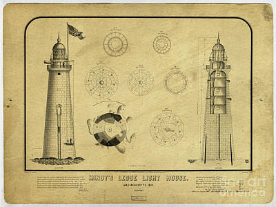 Drawing - Minot's Ledge Light House. Massachusetts Bay by Vintage