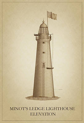 Lighthouse Drawing - Minot's Ledge Lighthouse by Ambro Fine Art