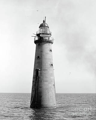 Print featuring the photograph Minot's Ledge Lighthouse, Boston, Mass Vintage by Vintage