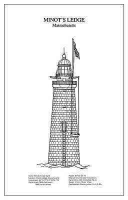 Minots Ledge Lighthouse - Massachusetts - Blueprint Drawing Art Print