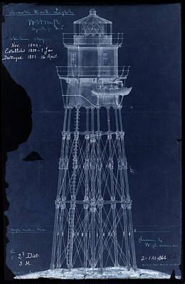 Noreaster prints fine art america minots ledge lighthouse rustic blueprint 1850 art print malvernweather Images