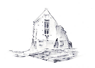 Drawing - Minster Lovell by Elizabeth Lock