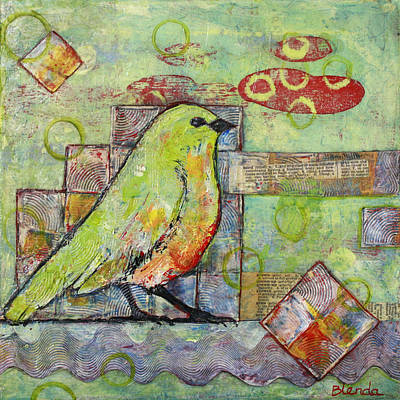 Mixed Painting - Mint Green Bird Art by Blenda Studio