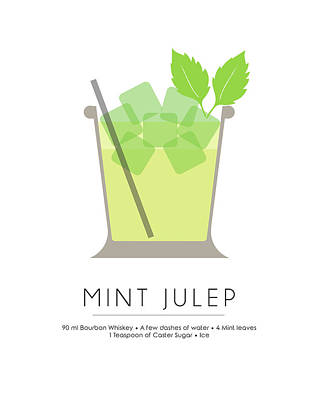 Champagne Mixed Media - Mint Julep Classic Cocktail - Minimalist Print by Studio Grafiikka