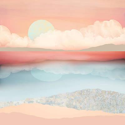 Abstract Beach Landscape Digital Art - Mint Moon Beach by Spacefrog Designs