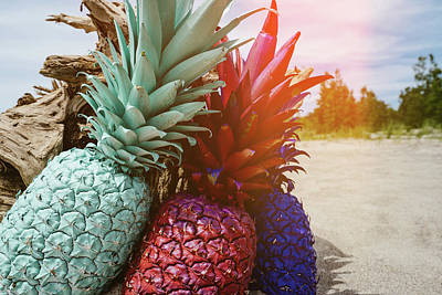Pineapple Photograph - Mint, Red, Blue by Happy Home Artistry