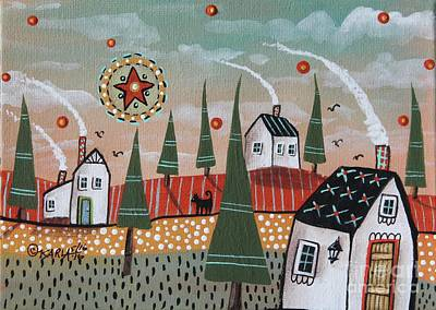 Folk Art Painting - Mint Sky by Karla Gerard