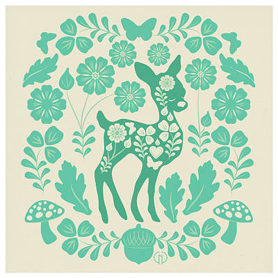 Mint Woodland Folk Deer  Art Print