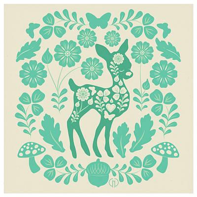 Mushroom Mixed Media - Mint Woodland Folk Deer  by Catherine Noel