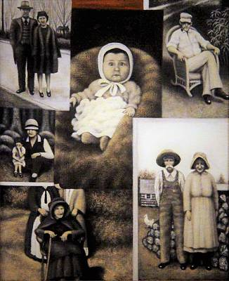 Woodpile Painting - Minter Family Album by Charles Hill