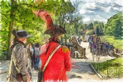 Concord Photograph - Minuteman And Redcoat Concord Ma Pencil by Edward Fielding