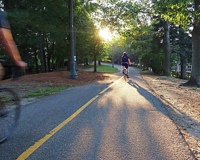 Photograph - Minuteman Trail Cambridge Ma Bicyclists Bike Trail by Toby McGuire
