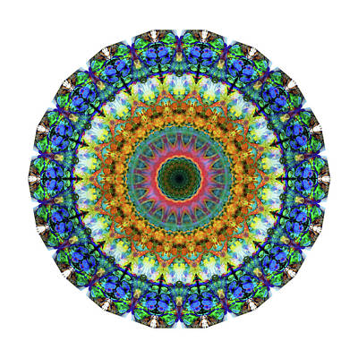 Miracle Mandala Art By Sharon Cummings Art Print by Sharon Cummings