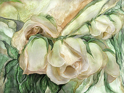 Mixed Media - Miracle Of A Rose Bud - Antique White by Carol Cavalaris