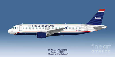 Passenger Plane Digital Art - Miracle On The Hudson - Us Airways A320 - Blue Version by Steve H Clark Photography