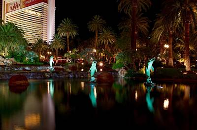 Dolphine Photograph - Mirage Fountains And Palm Trees With Dolphin Statues Las Vegas by Peter Morada