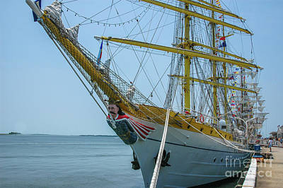 Photograph - Mircea Tall Ship Docked In Charleston Sc by Dale Powell