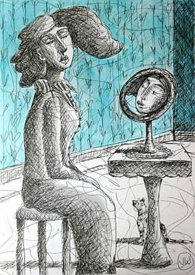 Drawing - Mirror Blue by June Walker