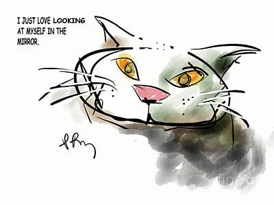 Digital Art - Mirror Cat by Paul Miller