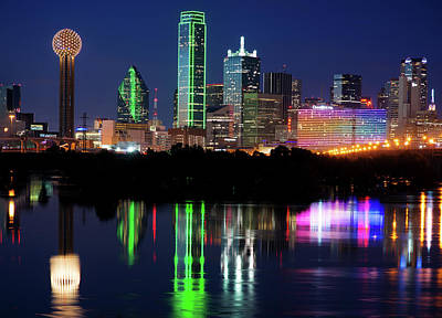 Dallas Photograph - Mirror Colors Skyline by Rospotte Photography
