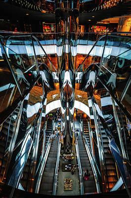 Mirror Escalators Bonanza At Shopping Mall In Sydney Art Print