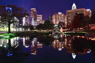 Charlotte Skyline Photograph - Mirror Image Of Charlotte by Frozen in Time Fine Art Photography
