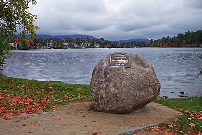 Photograph - Mirror Lake Ironman Rock Lake Placid Ny by Toby McGuire