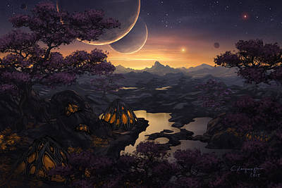 Graphics Digital Art - Mirror Lakes by Cassiopeia Art