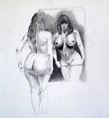 Provocative Drawing - Mirror Mirror 2 by John Davis