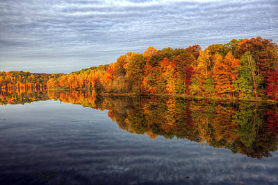 Seneca Lake Photograph - Mirror Mirror On The Fall by Edward Kreis