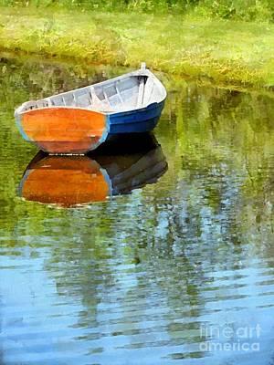 Rowboat Digital Art - Mirror Pond by Helene Guertin