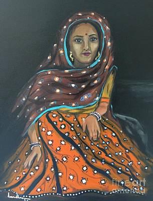 Painting - Mirror Work Skirt by Brindha Naveen